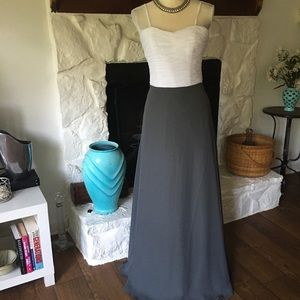 NWT ALLURE BRIDALS GRAY & WHITE EVENING GOWN